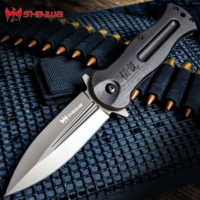 Shinwa Ganjo Black G10 Pocket Knife - 3Cr13 Stainless Steel Blade, Black G10 Handle Scales, Ball Bearing, Pocket Clip