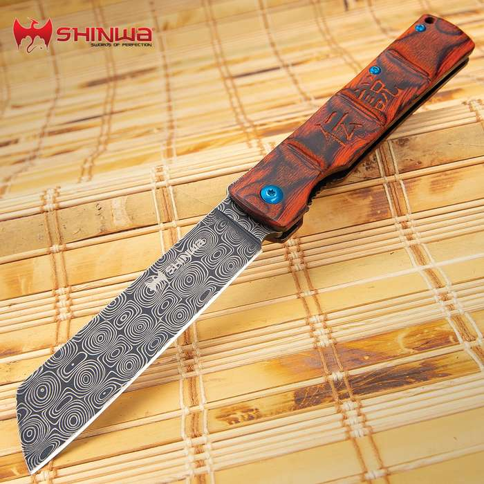 Shinwa Bloodwood Takegara Razor Knife - Raindrop Damascus Patterned Steel Blade, Ball-Bearing Opening, Wooden Handle Scales, Pocket Clip