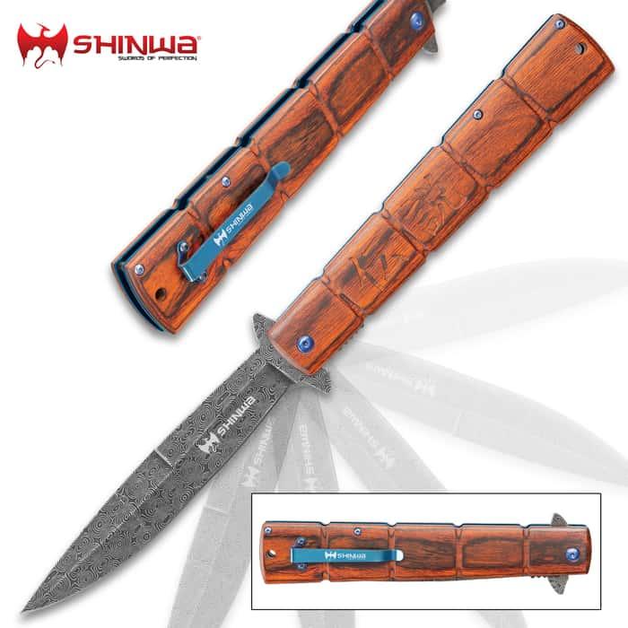 Shinwa Bloodwood Takegara Max Pocket Knife - Raindrop Damascus Patterned Steel Blade, Ball-Bearing Opening, Wooden Handle Scales, Pocket Clip