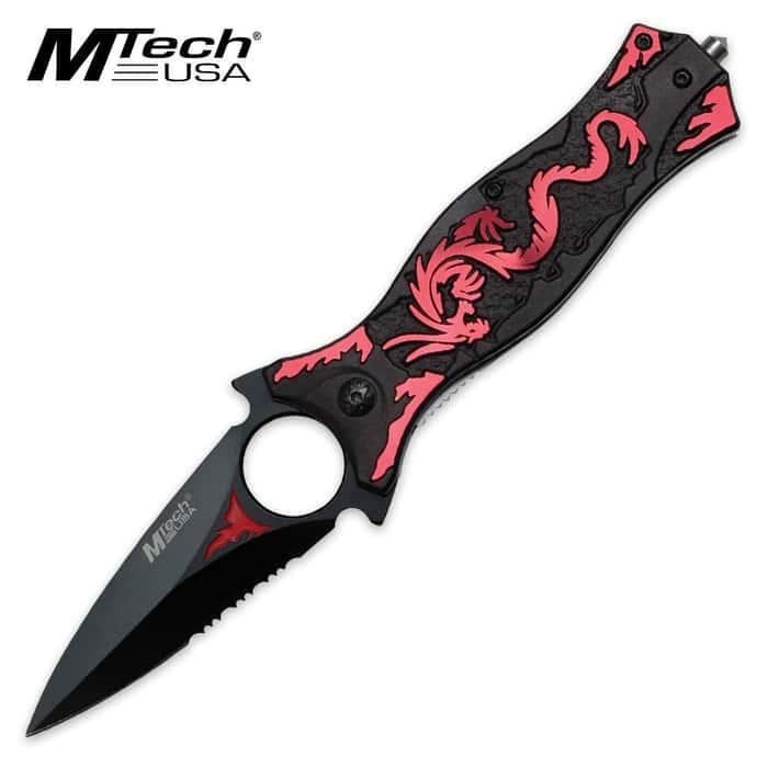 MTech USA Fantasy Flying Dragon Folding Pocket Knife Pink