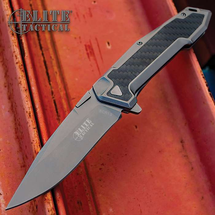 Elite Tactical Carbon Fiber Pocket Knife - 8Cr13 Stainless Steel Blade, Tinite Coated, Stainless Steel And Carbon Fiber Handle, Pocket Clip