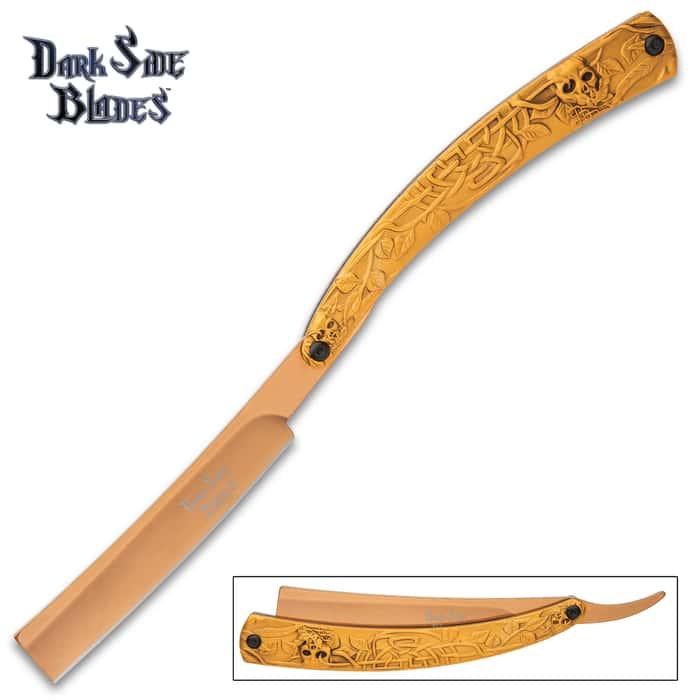 """Dark Side Celtic Skulls Golden Razor Blade Pocket Knife - 3Cr13 Stainless Steel Blade, Anodized Aluminum Handle - Length 10"""""""