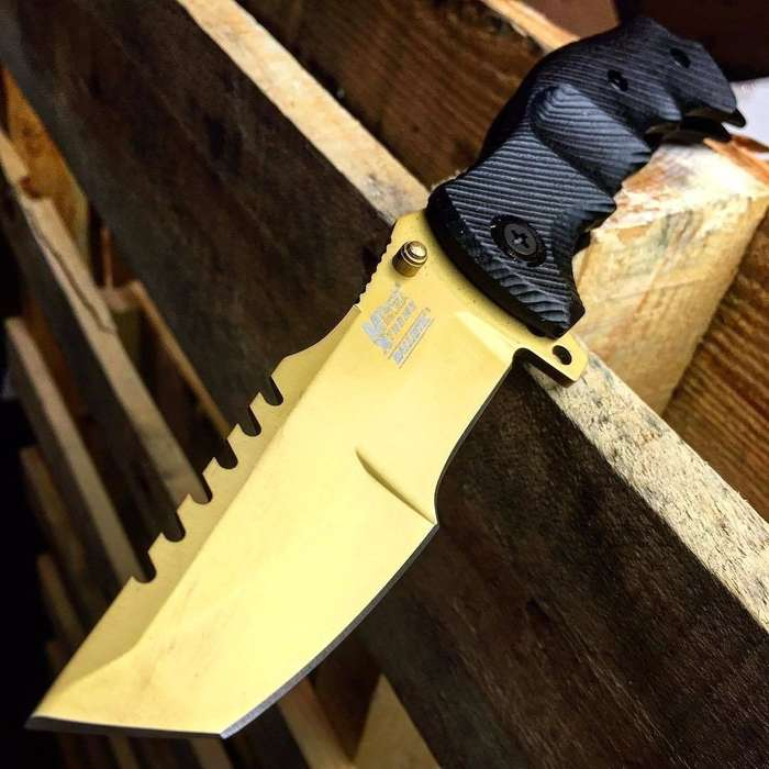 MTech USA Xtreme Gold Ballistic Pocket Knife - Spring Assisted