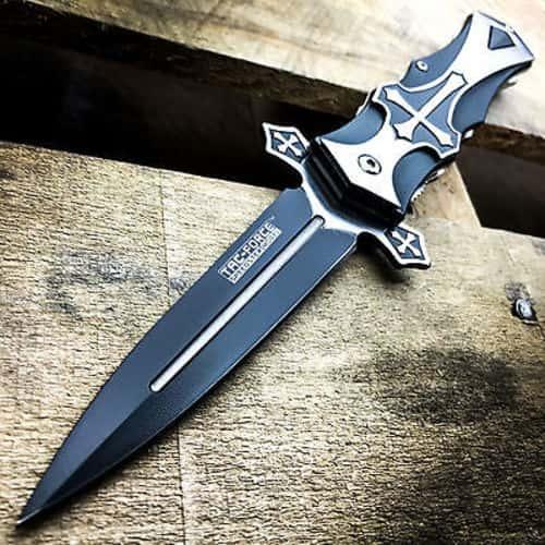 TAC-FORCE Spring Assisted Open BLACK CROSS Folding Blade STILETTO Pocket Knife