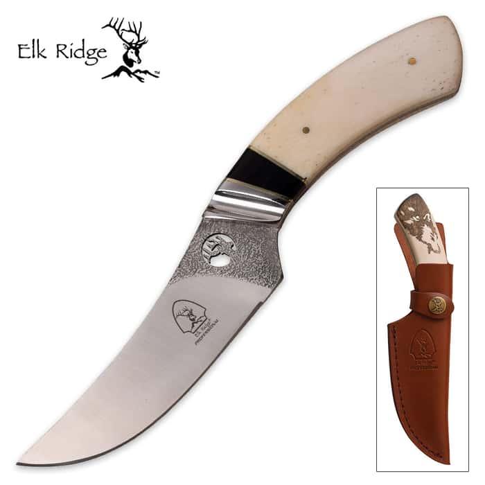 Elk Ridge Howling Wolf Laser-Etched Bone Trailing Point Fixed-Blade Knife w/ Leather Sheath