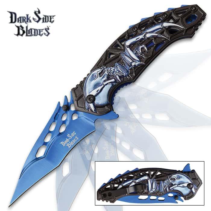 """Dark Side Blue Skull Phantasm Pocket Knife - 3Cr13 Steel Blade, Aluminum Handle, Pocket Clip - 4 3/4"""" Closed"""