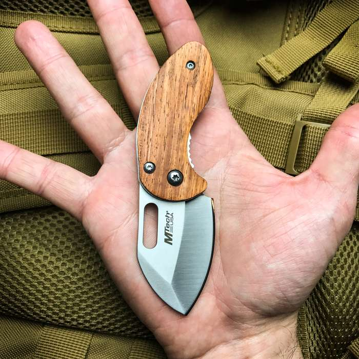 MTech Brownwood Compact Pocket Palm Knife - 3Cr13 Steel Stonewashed Blade, Wooden Handle, Pocket Clip