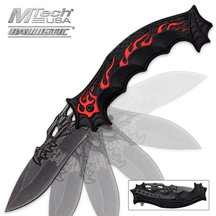 Dark Side Dragon Red Flame Assisted Opening Folding Pocket Knife
