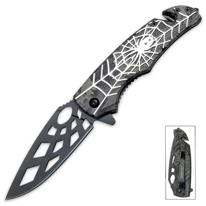 Tac-Force Speed Assisted Opening Rescue Pocket Knife Spider Silver