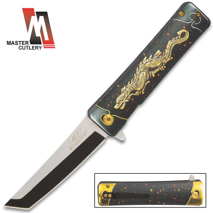 the master cutlery golden dragon assisted opening pocket knife open and closed view