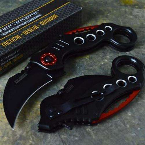 Combat Karambit Spring Assisted Opening Knife Black and Red