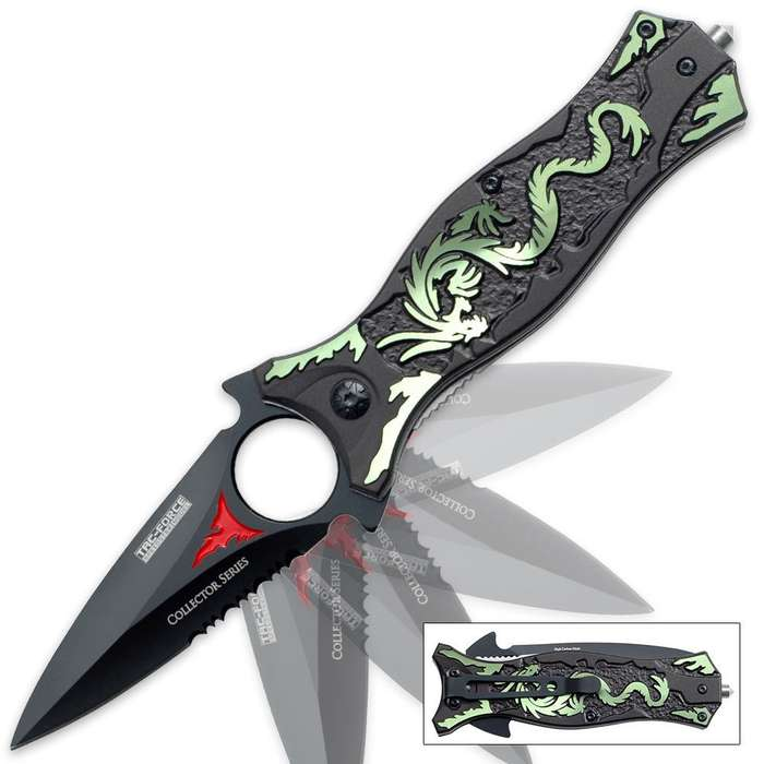 Dragons Tooth Dagger Assisted Opening Folding Pocket Knife Green