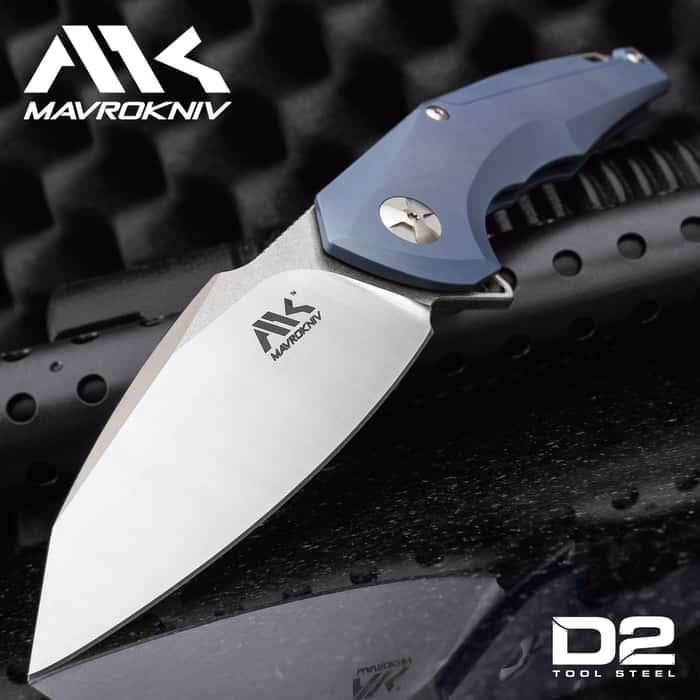 """Mavrokniv Mav I Pocket Knife - D2 Tool Steel Blade, Ball Bearing Opening, Blue Titanium Handle Scales, Framelock, Pocket Clip - 5"""" Closed"""