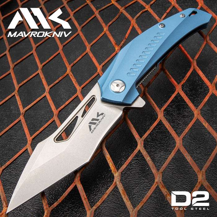 Mavrokniv Flatline Pocket Knife - D2 Steel Blade, Aluminum Handle, CNC Finish, Ball Bearing Opening, Pocket Clip - Closed 4 3/4""
