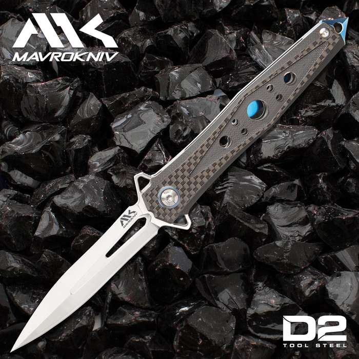 Mavrokniv Apex Pocket Knife - D2 Tool Steel Blade, Ball Bearing Opening, G10 And Carbon Steel Handle Scales, Pocket Clip - 5""