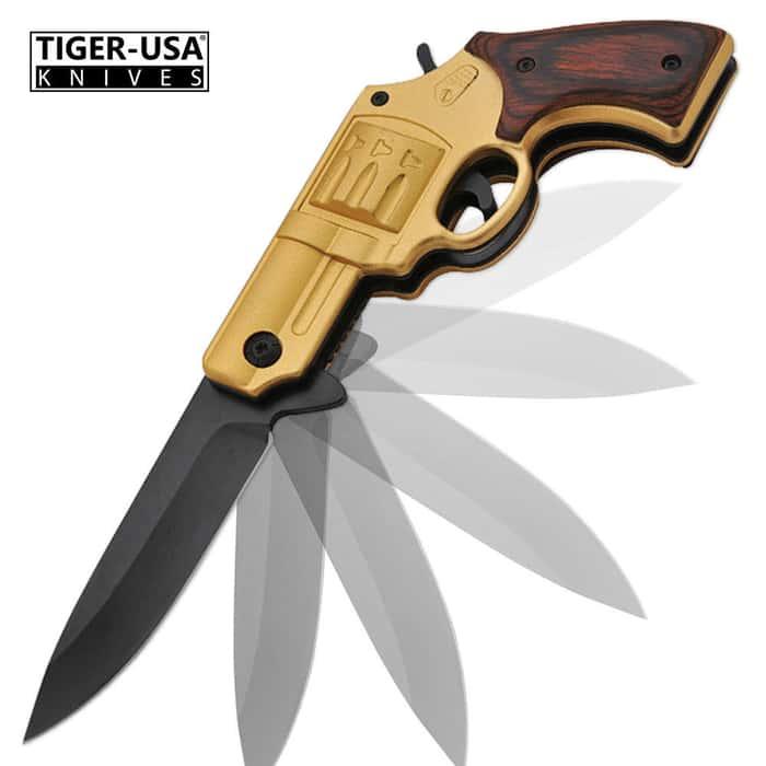 Assisted Opening Z Slayer Undead Gasher .38 Cal. Revolver Folding Pocket Knife Gold