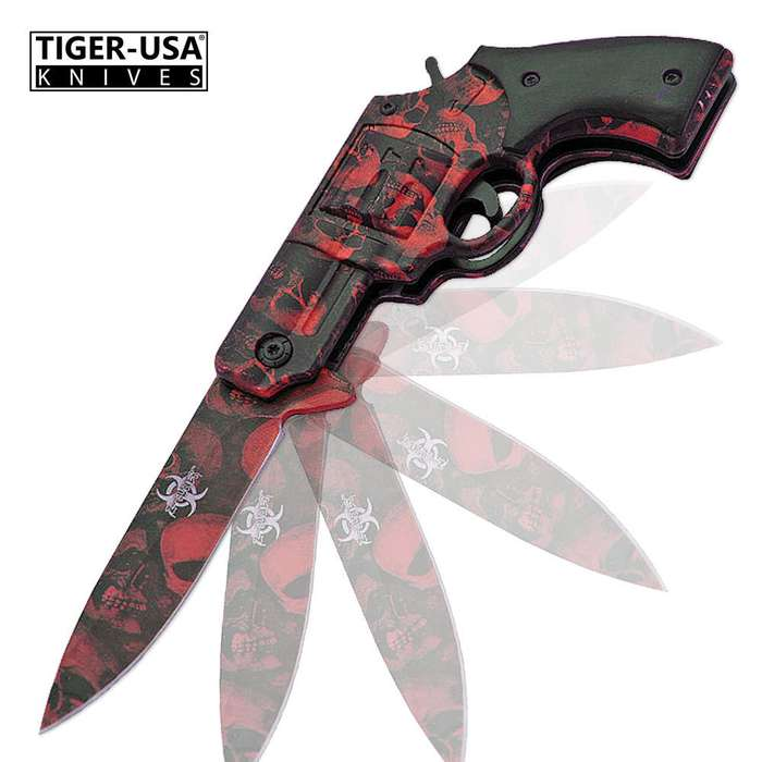 Assisted Opening Z Slayer Undead Gasher .38 Cal. Revolver Folding Pocket Knife Red