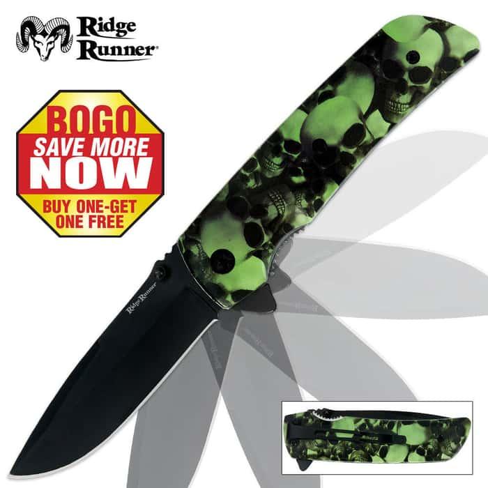 Ridge Runner Skull Camo Folder Green 2 For 1