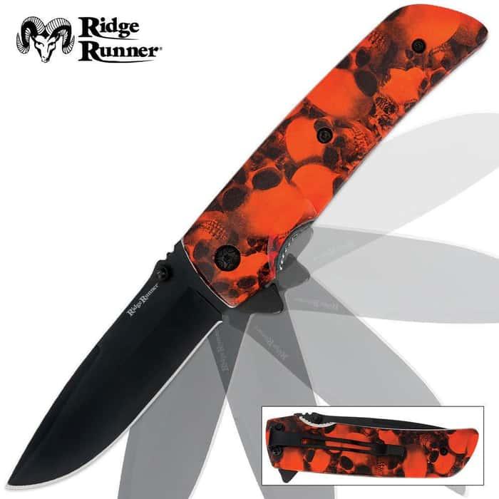 Ridge Runner Skull Camo Folder Orange