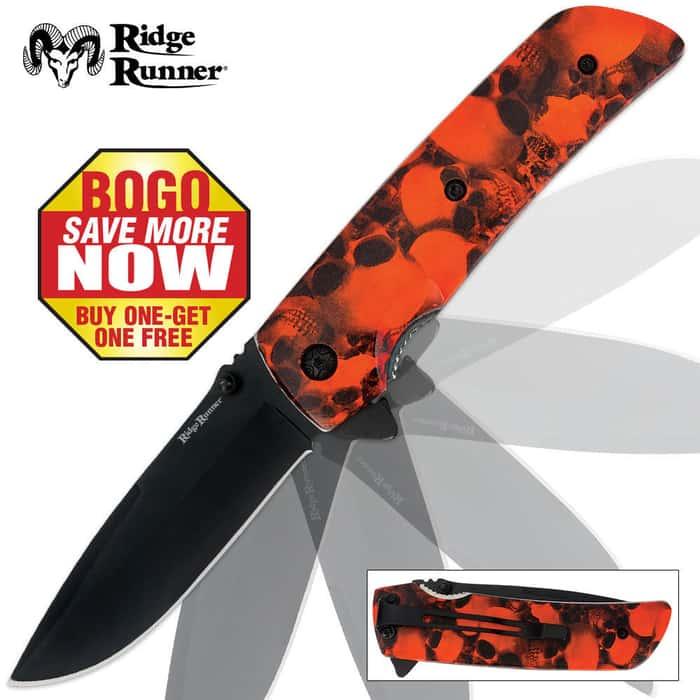 Ridge Runner Skull Camo Pocket Knife Orange 2 For 1