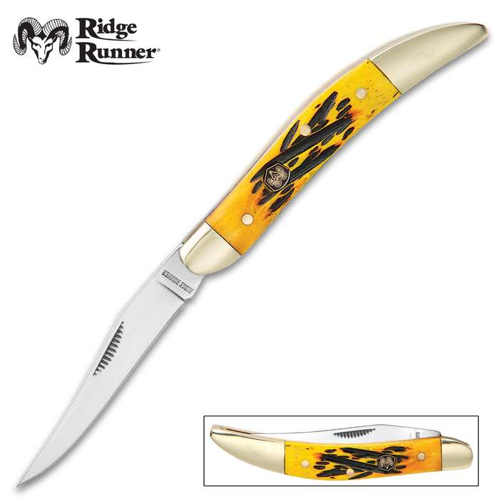 Ridge Runner Yellow Bone Toothpick Pocket Knife - 3Cr13 Stainless Steel Blade, Bone Handle, Brass Liner, Nickel Silver Bolsters