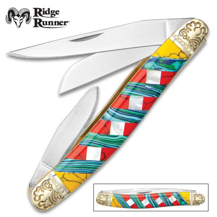 Ridge Runner Moroccan Mosaic Stockman Pocket Knife - 3Cr13 Stainless Steel Blades, Multi-Stone Handle, Nickel Silver Bolsters, Brass Liners
