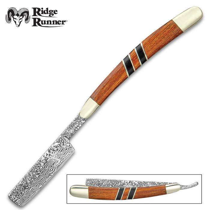 Ridge Runner Royal Admiralty Razor Pocket Knife - 3Cr13 Stainless Steel Blade, Wooden Handle Scales, Nickel Silver Bolsters
