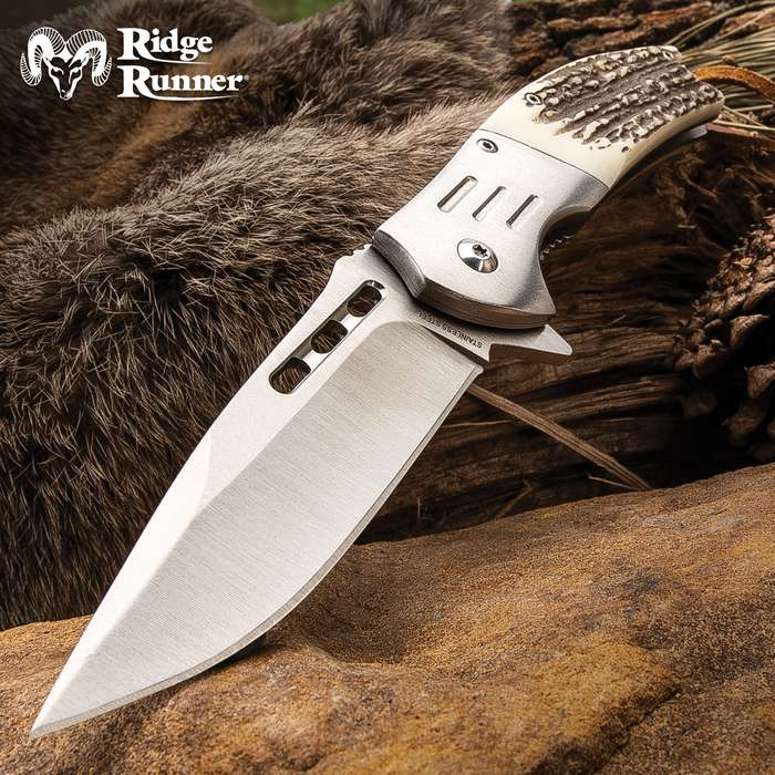 Ridge Runner Faux Stag Antler Assisted Opening Hunting Pocket Knife - Length 8 1/2""