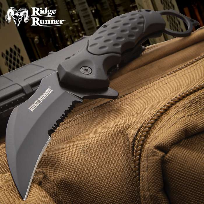 Ridge Runner Field Shadow Karambit Knife - Stainless Steel Blade, Non-Reflective, TPR Handle, Open-Ring Pommel, Pocket Clip