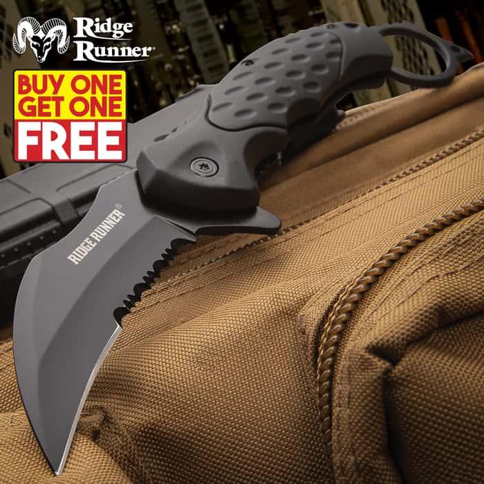 Ridge Runner Field Shadow Karambit Knife - Stainless Steel Blade, Non-Reflective, TPR Handle, Open-Ring Pommel, Pocket Clip - BOGO