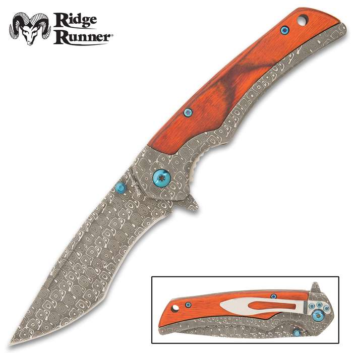 "Its keenly sharp, 3 3/4"" blade is forged from unique DamascTec steel, which features a hypnotic ""raindrop"" etch pattern"