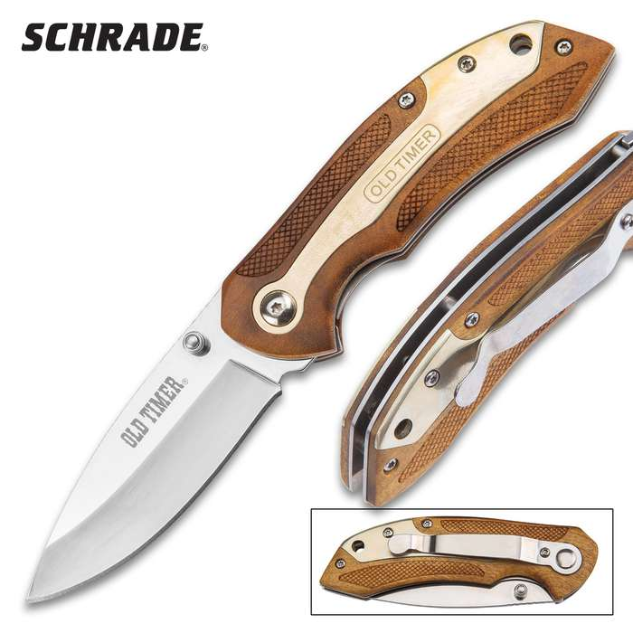 Schrade Old Timer Desert Ironwood Pocket Knife - Stainless Steel Drop Point Blade, Assisted Opening, Wooden Handle, Pocket Clip