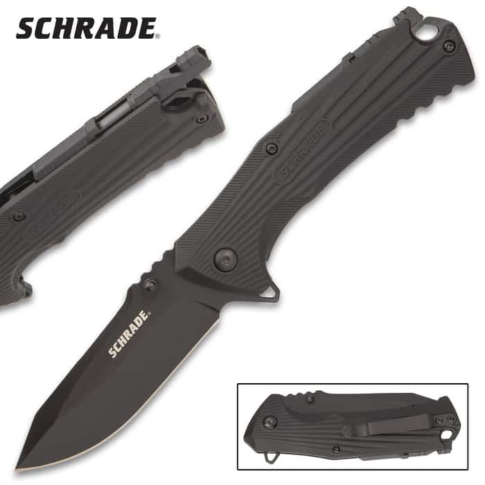 The Schrade Ultra Glide Pocket Knife With Firestarter its your goto tactical pocket knife