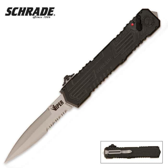 Schrade OTF Assisted Opening Viper Pocket Knife Satin Serrated