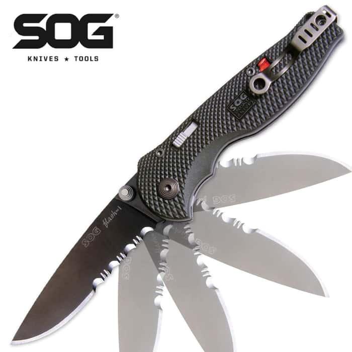 SOG Flash I Assisted Opening Pocket Knife Black Tini