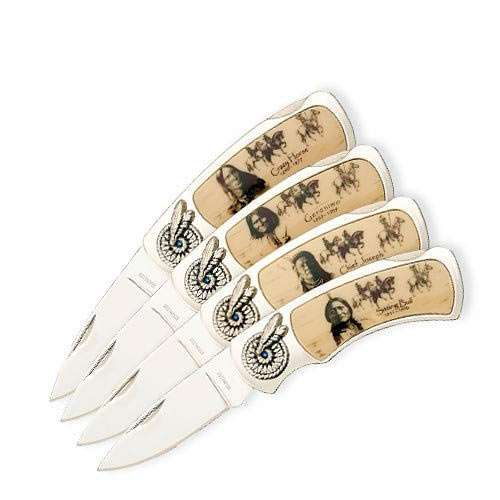 """Four-Piece Founding Fathers Pocket Knife Set - Four Folders - Stainless Steel Blades, Decorative Native American Indian Chief Handle Art, Wooden Display Box - Length 4 1/4"""""""