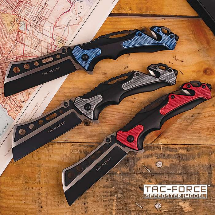 Tac-Force Rescuer Pocket Knife - 3Cr13 Stainless Steel Blade, Two-Tone Anodized Aluminum Handle, Glass Breaker, Seat-Belt Cutter