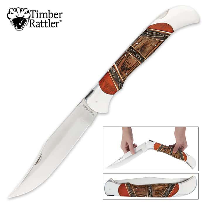 Timber Rattler Heartwood Scarab Back Giant Folding Pocket Knife - Carved Camel Bone Inlays
