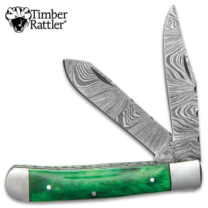 Timber Rattler Rain Forest Pocket Knife - Damascus Steel Blades, Green Bone Handle Scales, Stainless Steel Bolsters And Pins