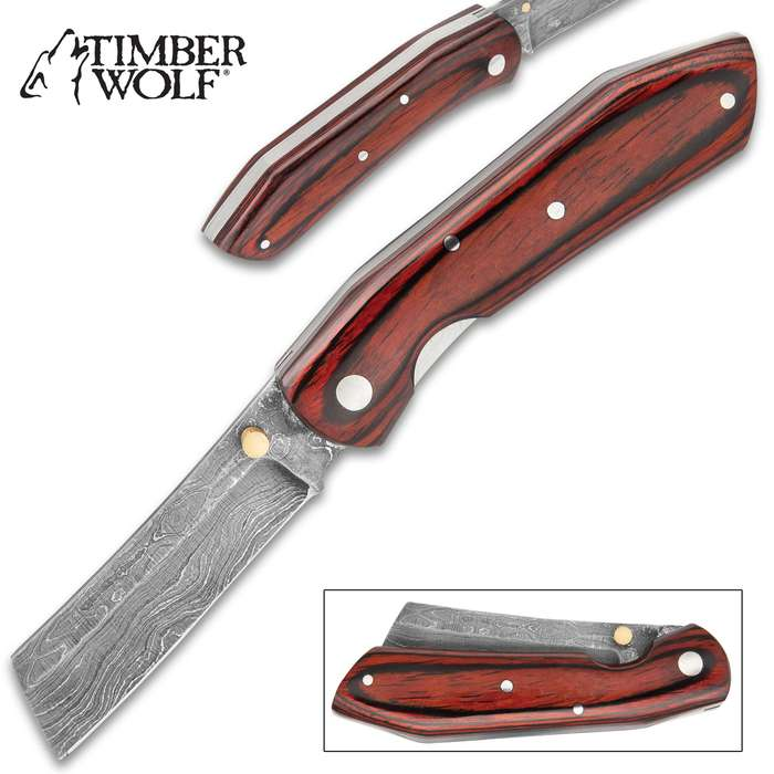 Timber Wolf Hunter Pocket Razor Knife - Damascus Steel Blade, Brass Thumbstud, Wooden Handle Scales, Stainless Steel Liners