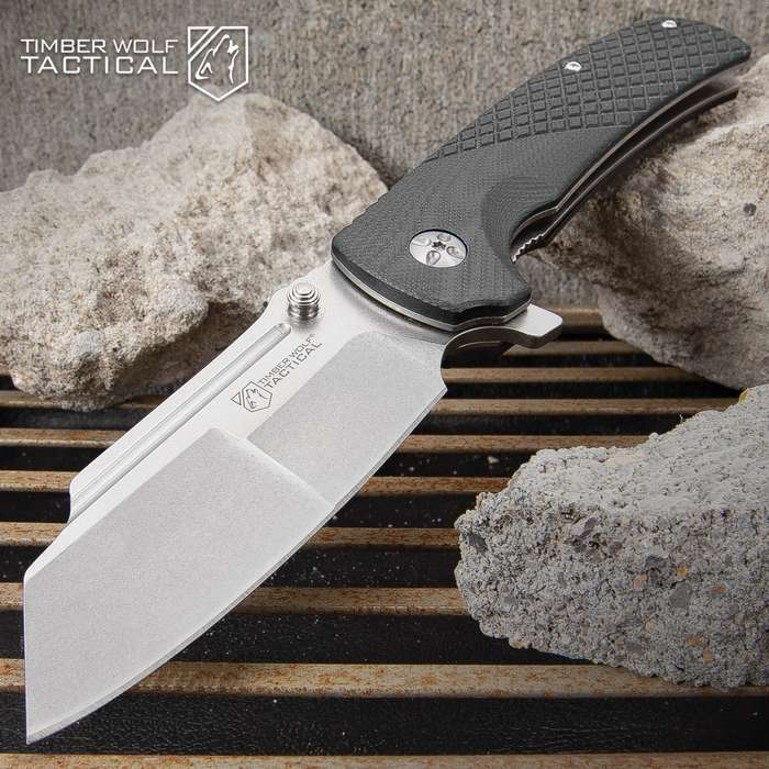 Timber Wolf BlackTac Ball Bearing Pocket Knife - Stainless Steel Blade, Stonewashed Finish, G10 Handle Scales, Pocket Clip