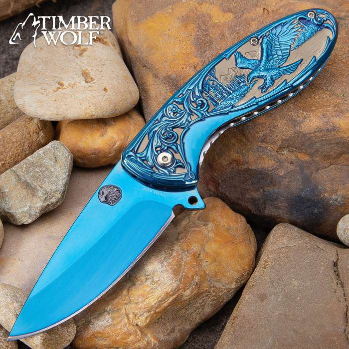 Timber Wolf Eagle Strike Pocket Knife - Stainless Steel Blade, Assisted Opening, Sculpted Stainless Steel Handle, Blue Tini Finish, Pocket Clip