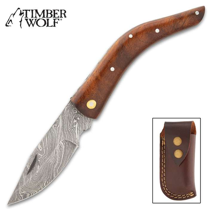Timber Wolf Nile Navigator Pocket Knife - Damascus Steel Blade, Curved Wooden Handle, Stainless Steel Pins, Lockback, Brass Accents