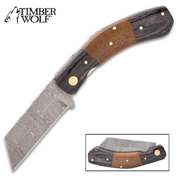 Timber Wolf Tobacco Farmer Wharncliffe Knife - Damascus Steel Blade, Walnut And Black Pakkawood Handle Scales, Brass Pins - Closed Length 4""