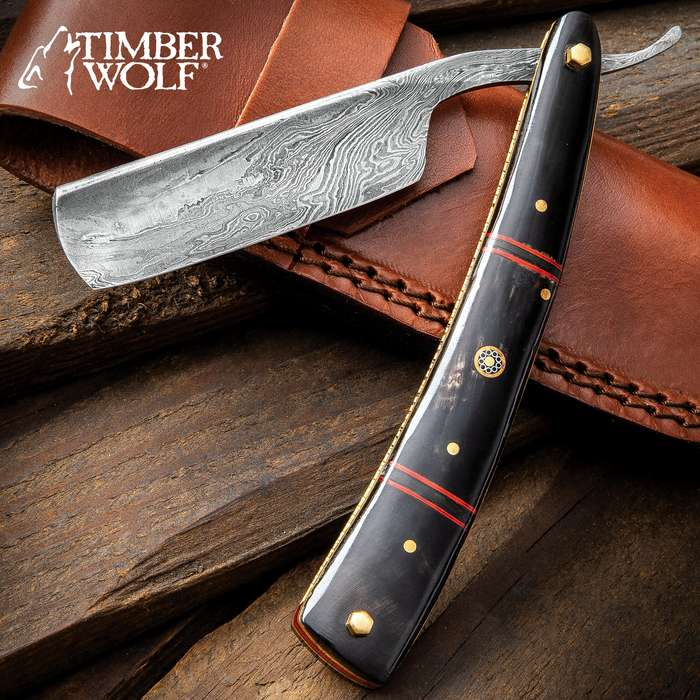 Timber Wolf Calcutta Folding Razor Knife And Sheath - Damascus Steel Blade, Bone Handle Scales, Brass Liners And Pins - Length 9 3/4""