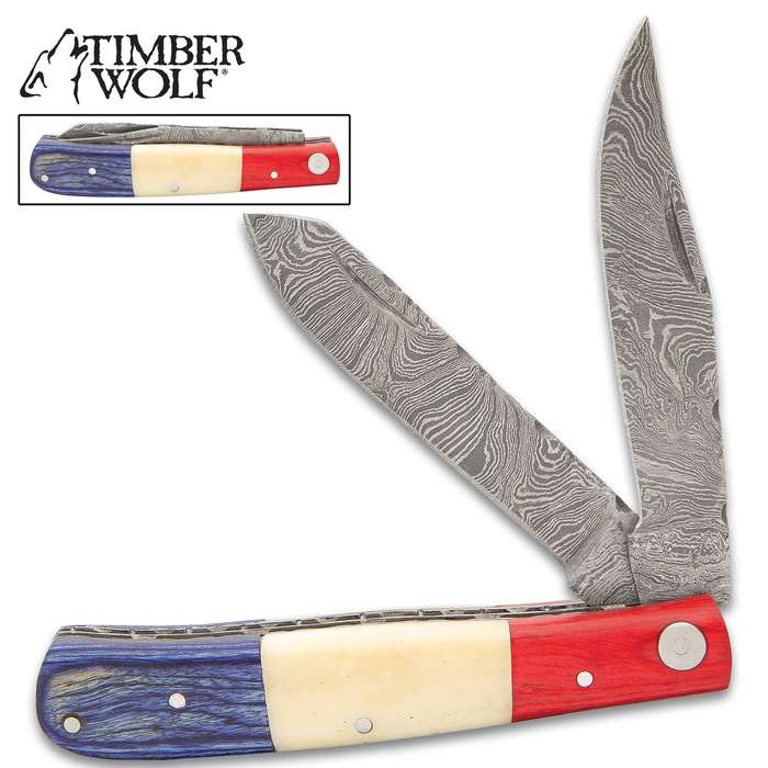 Timber Wolf Americana Trapper Knife - Damascus Steel Blade, Bone And Pakkawood Handle Scales, Fileworked Liners - Closed Length 4""