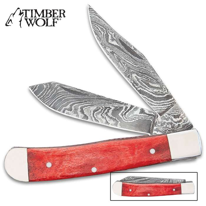Timber Wolf Elemental Series Spirit Of Earth Pocket Knife - Damascus Steel Blades, Camel Bone Handle Scales, Fileworked Liners