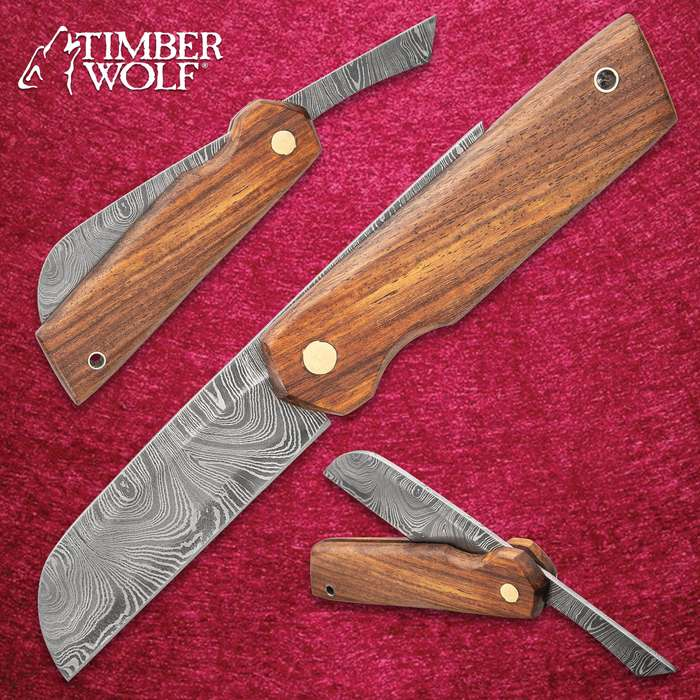 "Timber Wolf Primitive Folding Razor Knife - Damascus Steel Blade, Wooden Handle, Brass Pivot Pin, Lanyard Hole - Closed 6 1/2"""