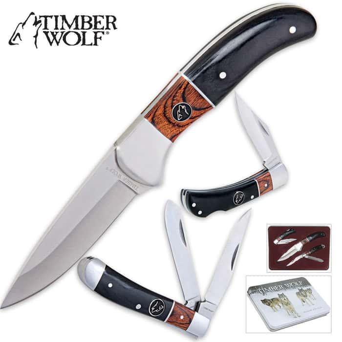 Timber Wolf Custom Elite Outdoor Knife Set & Tin