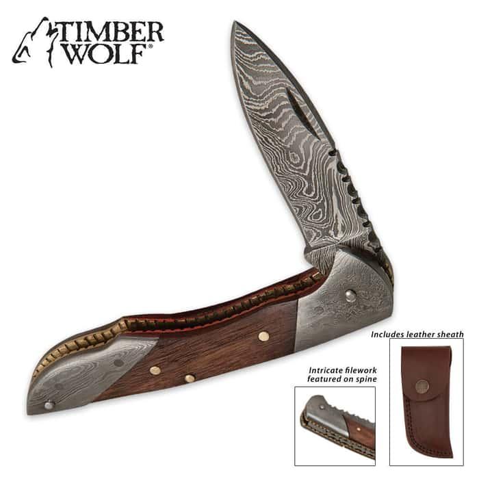 Timber Wolf Damascus Hunter Filework Folder